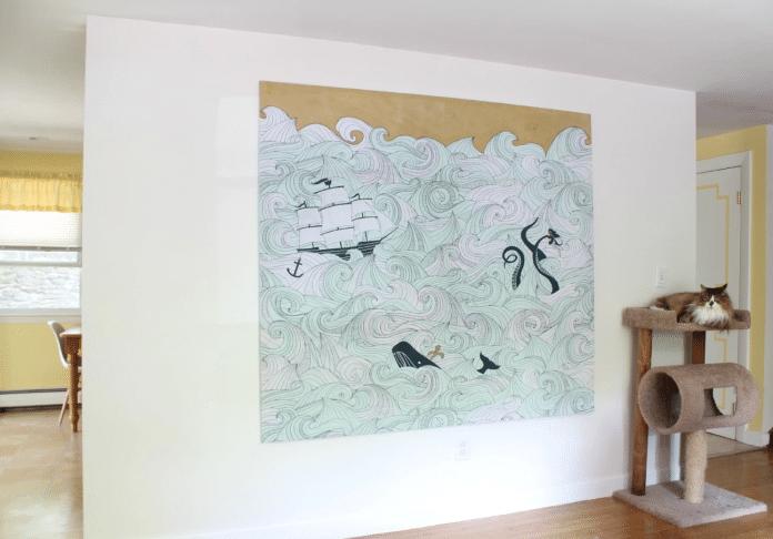 Refurbishing-a-Shower-Curtain-into-Wall-Art